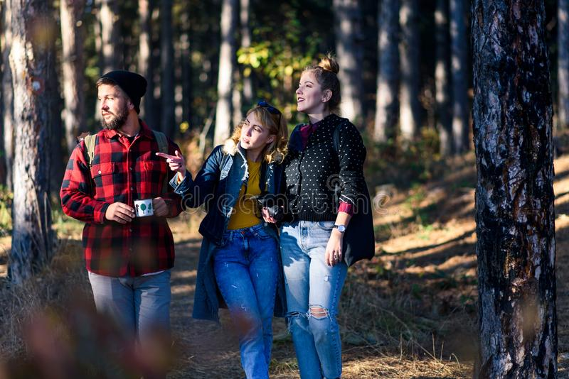 Grupo de amigos en un viaje que camina imagenes de archivo