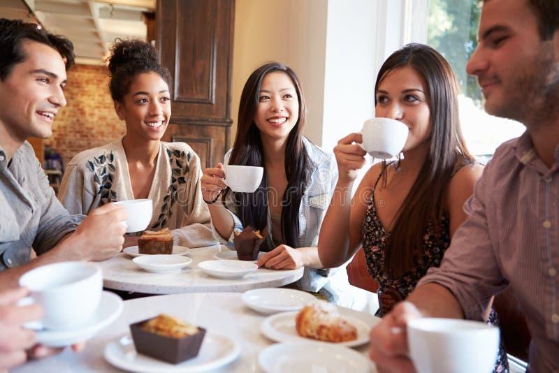 Grupo de amigos fêmeas que encontram-se no restaurante do café fotografia de stock royalty free