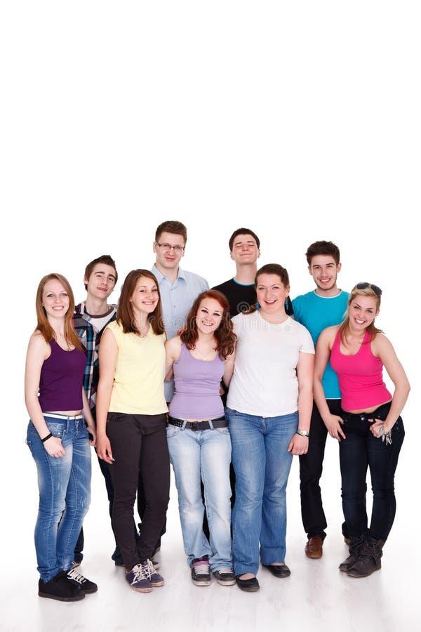 Grupo de amigos felices ocasionales foto de archivo