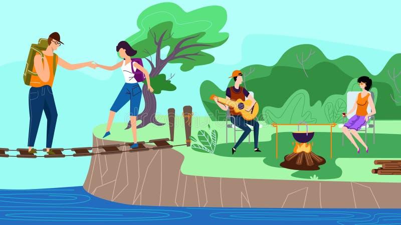 Grupo de amigos felices que se divierten en el campo, verano ilustración del vector