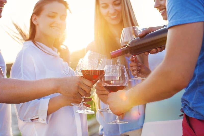 Grupo de amigos felizes que comem o vinho tinto na praia foto de stock
