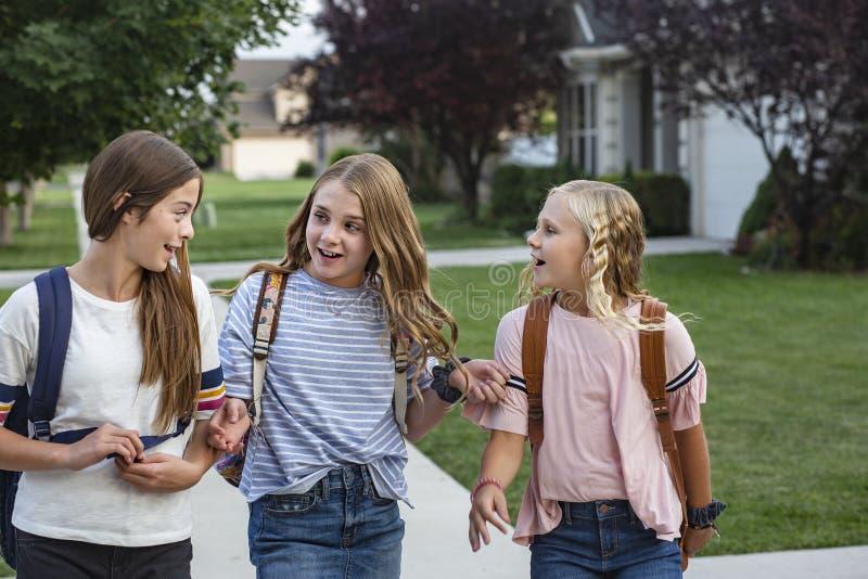 Grupo de amigos jovenes y de estudiantes femeninos que hablan junto como caminan la escuela casera para el día imagen de archivo libre de regalías
