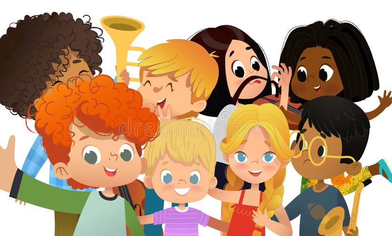 Grupo de amigos de la escuela que toman el selfie Los muchachos y las muchachas multiculturales se tiran en smartphone Niños que  ilustración del vector