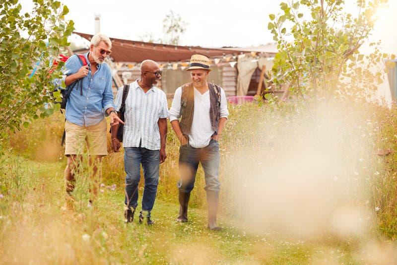 Grupo De Amigos Maduros Masculinos Caminando Por El Camino De Yurt Campsite fotografía de archivo libre de regalías