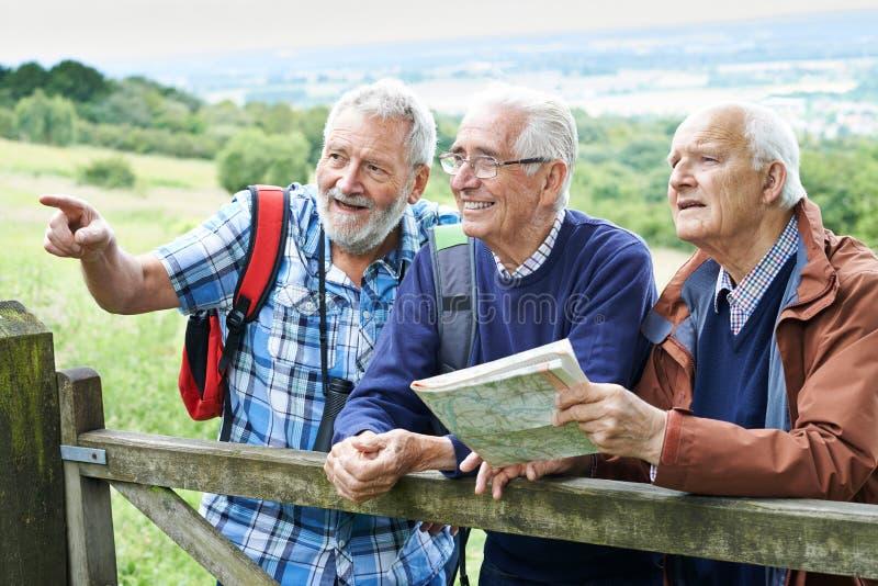 Grupo de amigos masculinos superiores que caminham no campo imagens de stock
