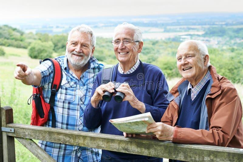 Grupo de amigos masculinos superiores que caminham no campo imagens de stock royalty free