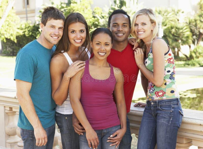 Grupo de amigos novos que têm o divertimento junto foto de stock