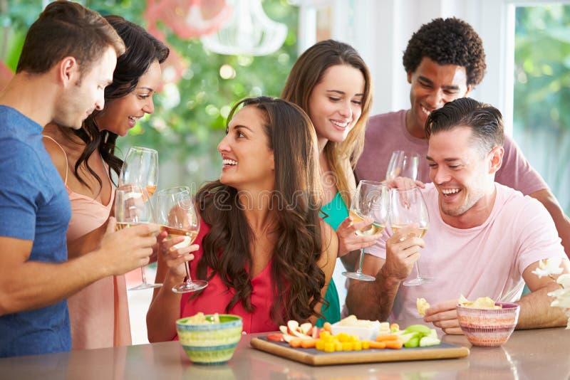Grupo de amigos que apreciam o partido das bebidas em casa fotografia de stock