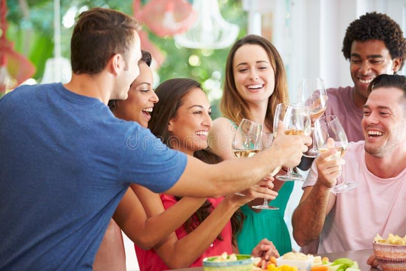 Grupo de amigos que apreciam o partido das bebidas em casa imagem de stock