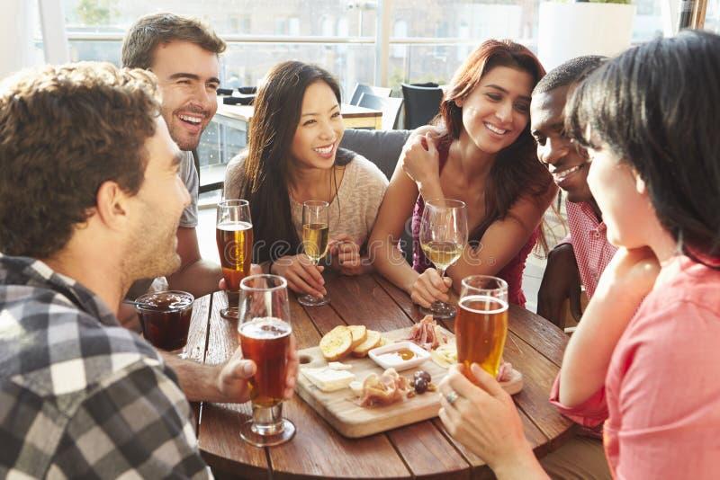 Grupo de amigos que gozan de la bebida y del bocado en barra del tejado imagen de archivo libre de regalías