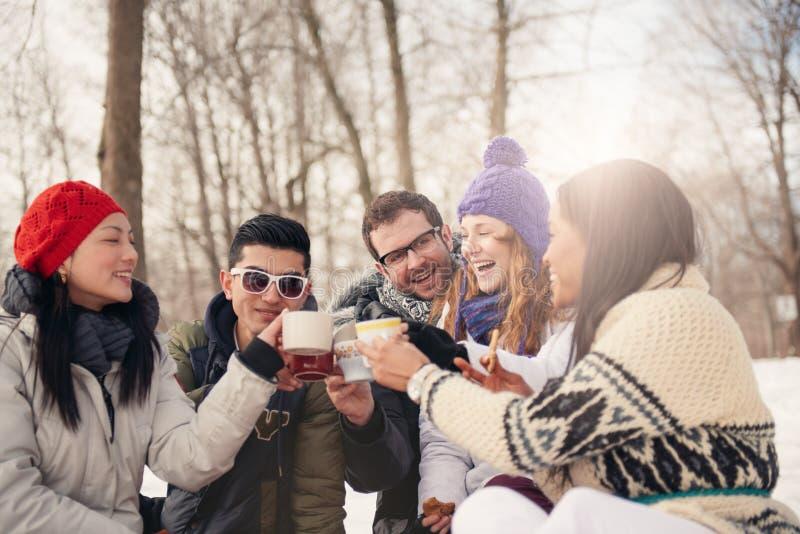Grupo de amigos que gozan en la nieve en invierno imagenes de archivo