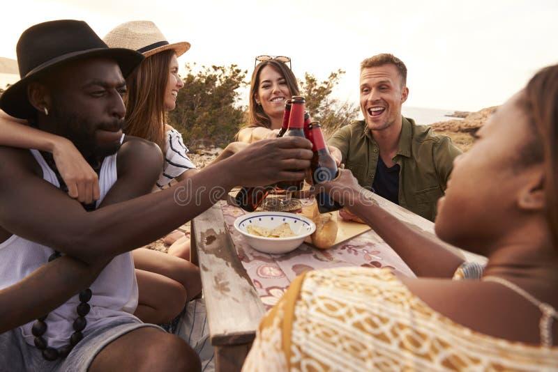 Grupo de amigos que hacen una tostada en Cliff Top Picnic foto de archivo libre de regalías