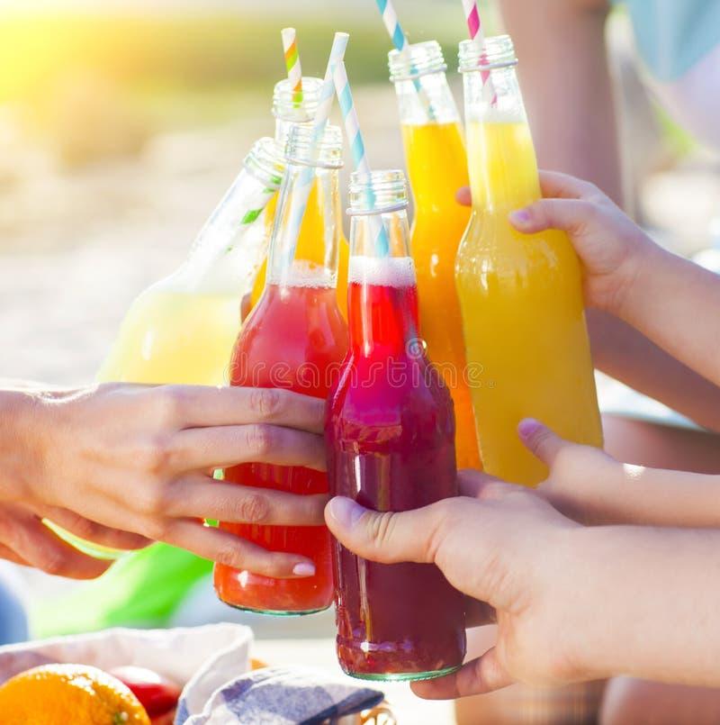 Grupo de amigos que llevan a cabo bebidas en la comida campestre del verano imagenes de archivo