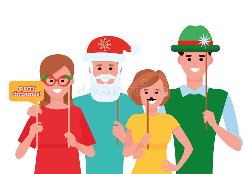 Grupo de amigos que ríen en la fiesta de Navidad con la cabina de la foto Ejemplo plano del estilo de la historieta en el fondo b libre illustration