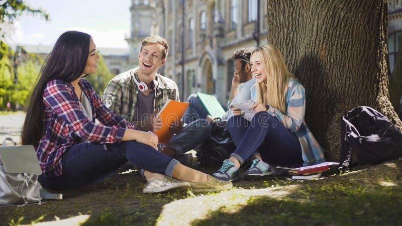 Grupo de amigos que se sientan debajo de árbol que habla el uno al otro la risa, unidad imagenes de archivo