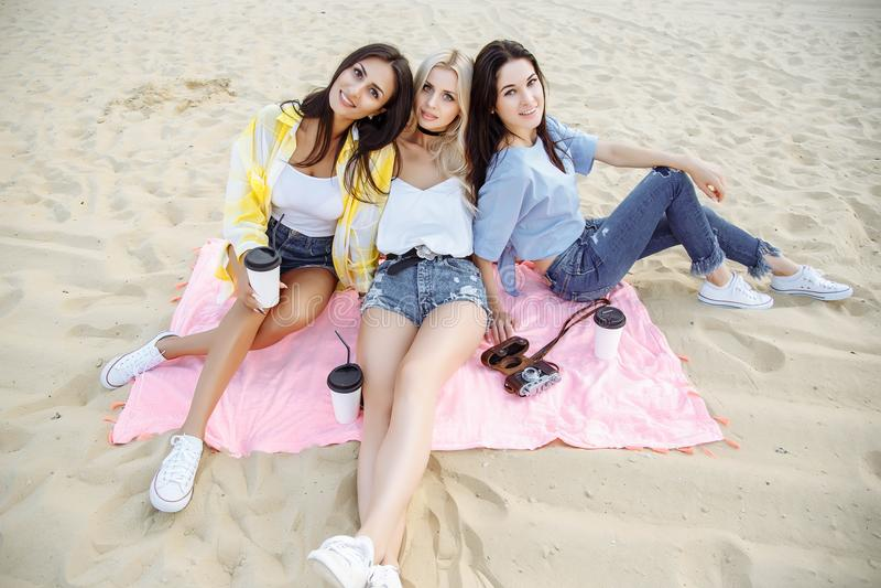 Grupo de amigos que sentam-se na praia e que têm o divertimento fotografia de stock