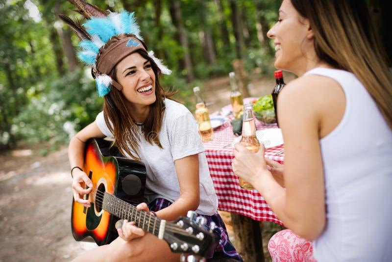 Grupo de amigos que têm um piquenique em um parque exterior Jovens felizes que apreciam o BBQ imagens de stock royalty free