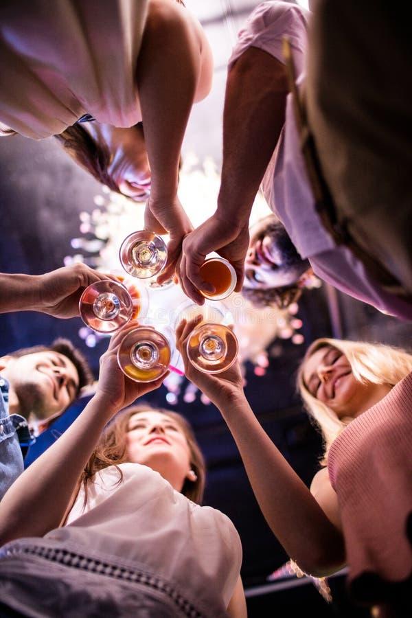 Grupo de amigos que tuestan los vidrios de vino imagen de archivo libre de regalías