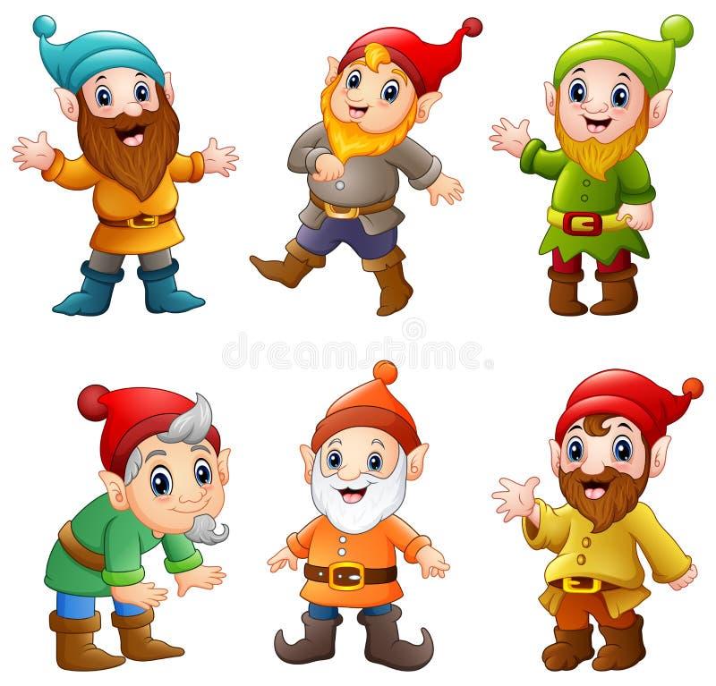Grupo de anão feliz dos desenhos animados ilustração stock