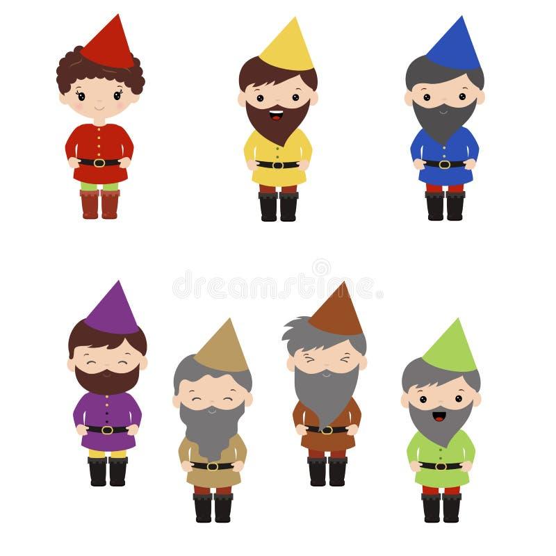 Grupo de anão feliz dos desenhos animados ilustração royalty free