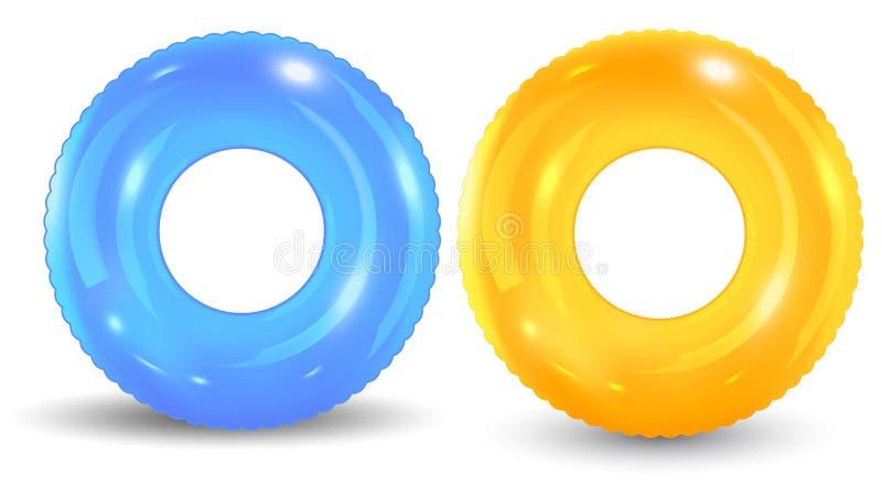 Grupo de anillo colorido de la piscina aislado en el fondo blanco libre illustration