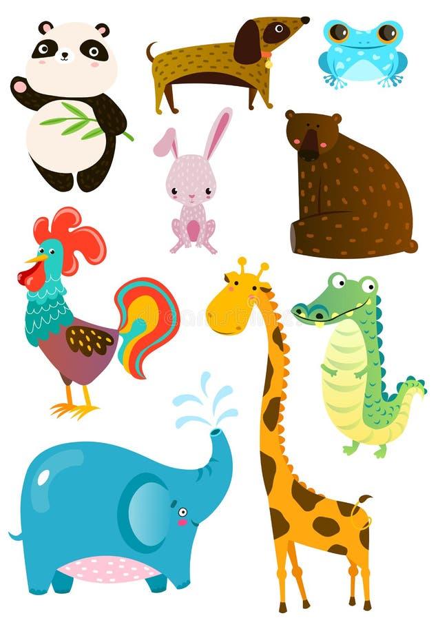Grupo de animais bonitos diferentes na placa branca ilustração stock