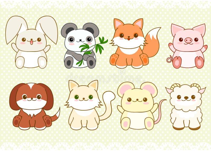Grupo de animais bonitos do bebê no estilo do kawaii ilustração royalty free