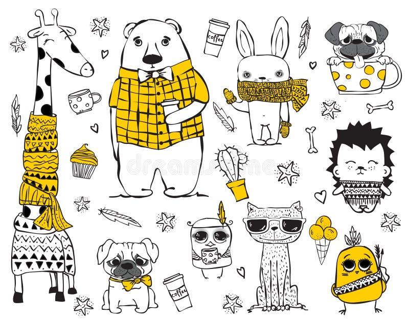 Grupo de animais bonitos do moderno da garatuja ilustração royalty free