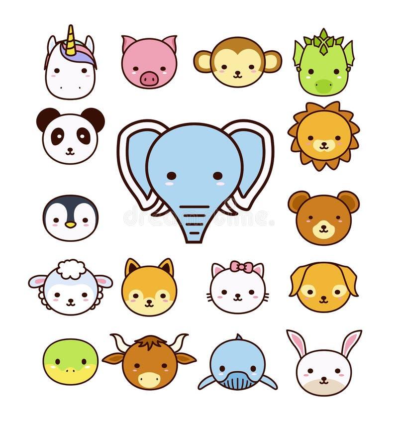 Grupo de animais bonitos dos desenhos animados no fundo branco ilustração stock