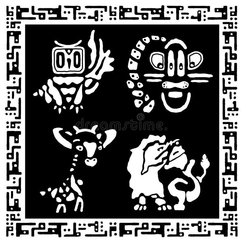 Grupo de animais bonitos no estilo étnico A mão tira a coleção tribal ilustração do vetor