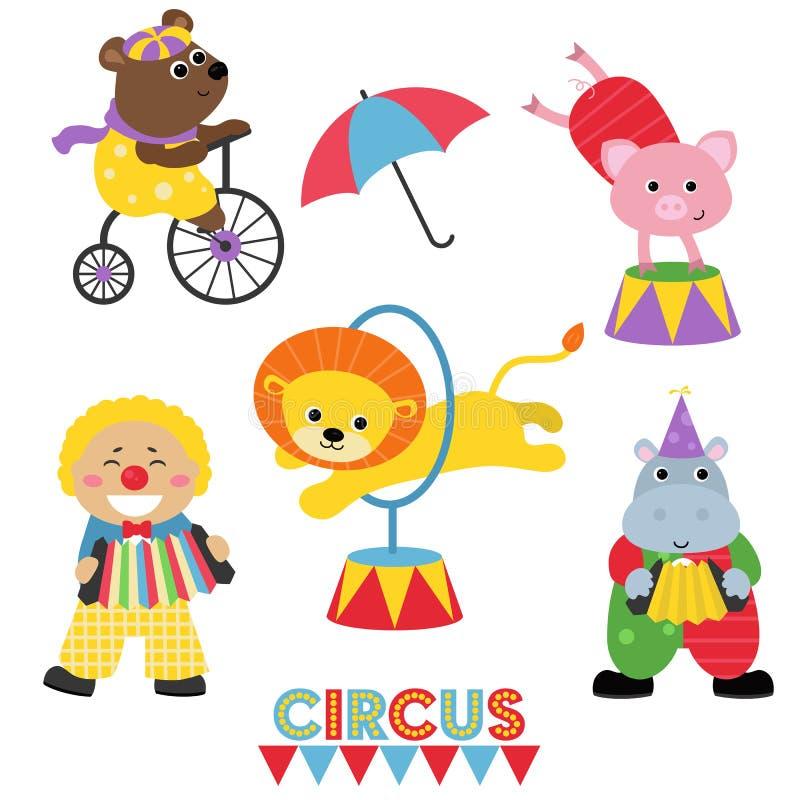 Grupo de animais de circo ilustração do vetor