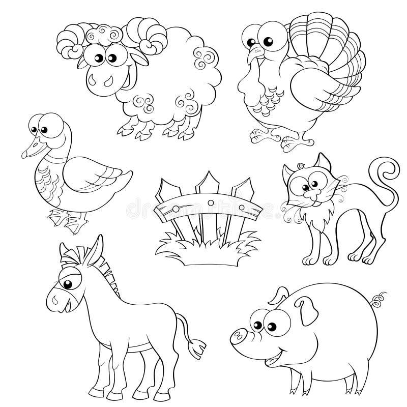 Grupo de animais de exploração agrícola bonitos dos desenhos animados Carneiros, peru, pato, gato, asno, porco e cerca ilustração stock