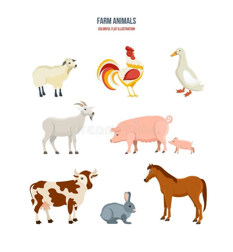 Grupo de animais de exploração agrícola diferentes no fundo branco ilustração royalty free