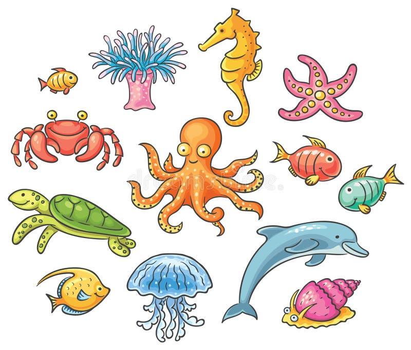 Grupo de animais de mar dos desenhos animados ilustração do vetor