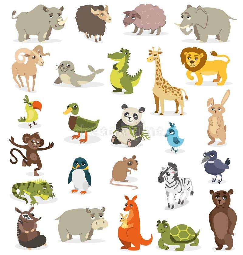 Grupo de animais diferentes em um fundo branco Illustrat do vetor ilustração stock