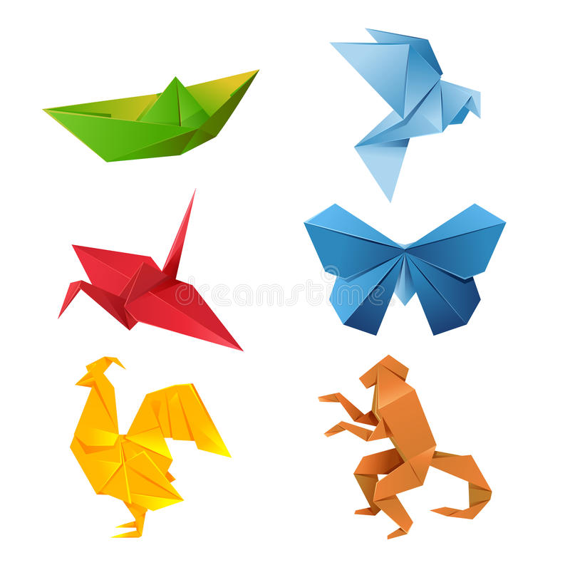 Grupo de animais do origâmi ilustração stock