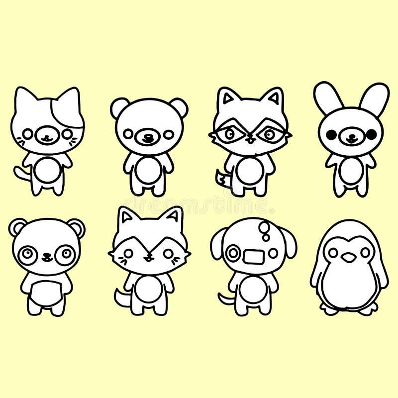 Grupo de animais do vetor no estilo dos desenhos animados ilustração do vetor