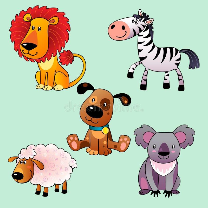 Grupo de animais dos desenhos animados. ilustração royalty free