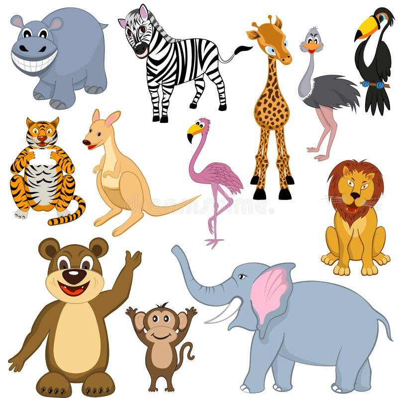 Grupo de 12 animais dos desenhos animados ilustração royalty free