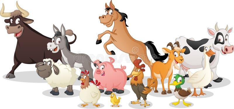 Grupo de animais dos desenhos animados da exploração agrícola Ilustração do vetor de animais felizes engraçados ilustração stock