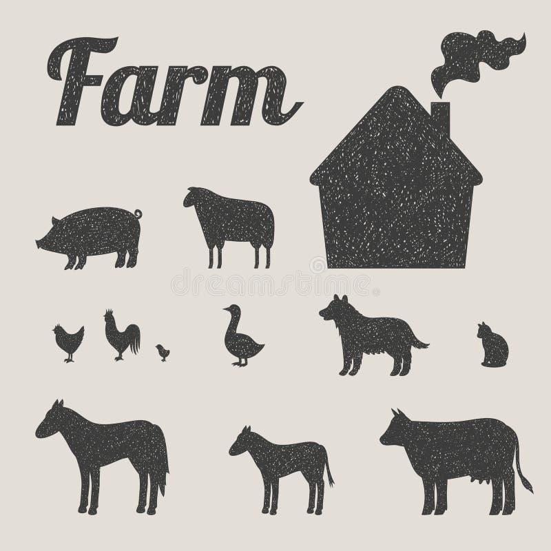 Grupo de animais e de casa de campo de exploração agrícola ilustração stock