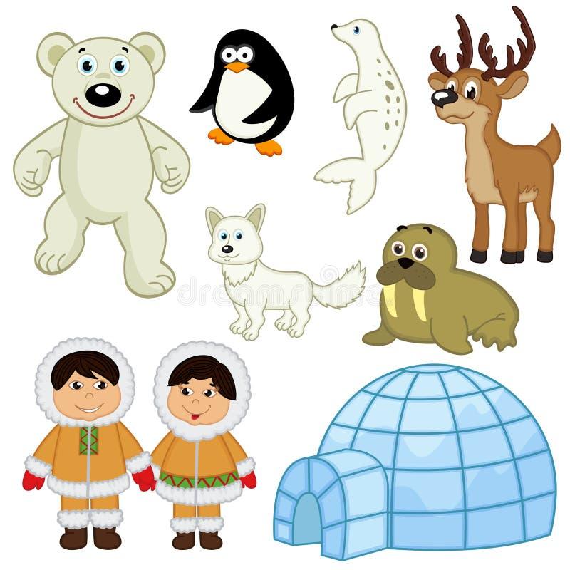 Grupo de animais e de povos no ártico ilustração do vetor