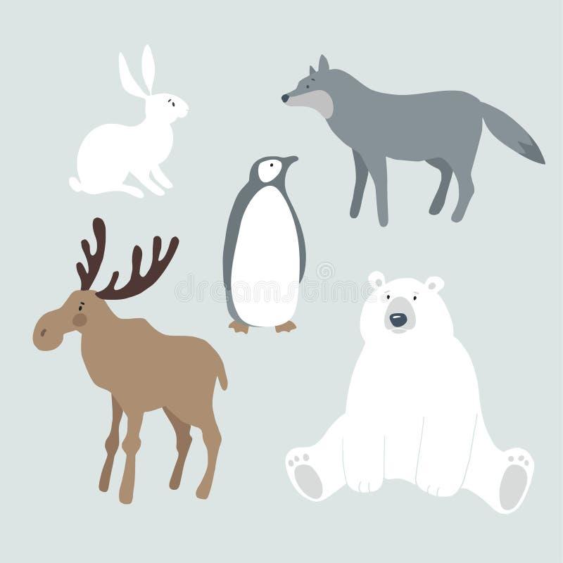 Grupo de animais e de pássaro selvagens do inverno Urso polar bonito, alces, lobo, lebre, coelho e pinguim Projeto nórdico do Nat ilustração do vetor