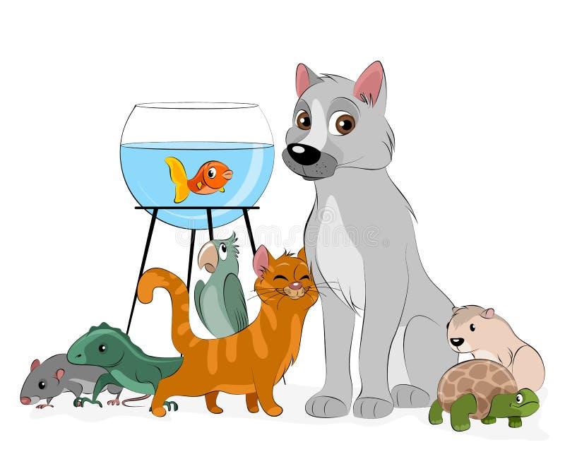 Grupo de animais de estimação ilustração do vetor