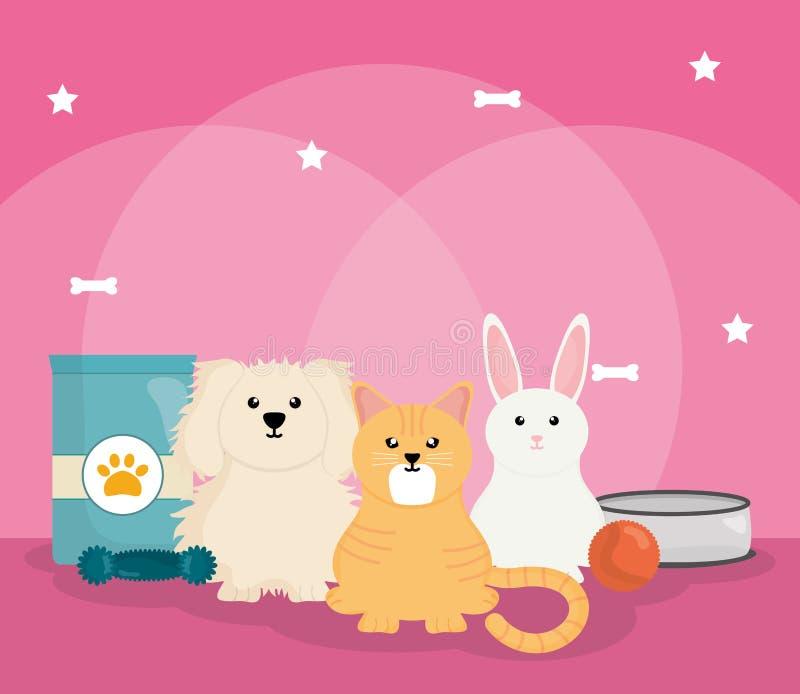 Grupo de animais de estimação com alimento ilustração royalty free