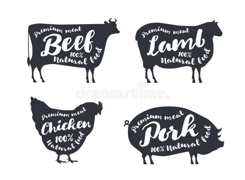 Grupo de animais de exploração agrícola com texto da amostra As silhuetas entregam animais tirados: vaca, carneiro, porco, galinh