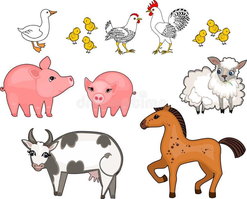 Grupo de animais de exploração agrícola diferentes dos desenhos animados no fundo branco ilustração do vetor