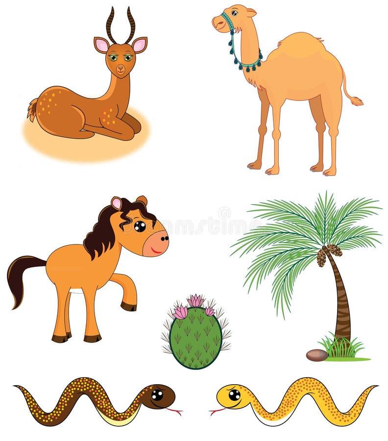 Grupo de animais do deserto ilustração do vetor