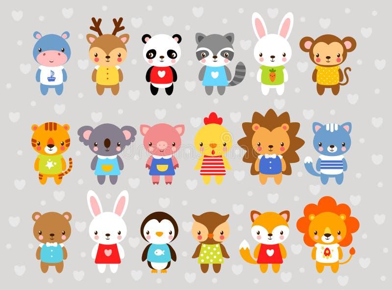 Grupo de animais no estilo dos desenhos animados ilustração royalty free