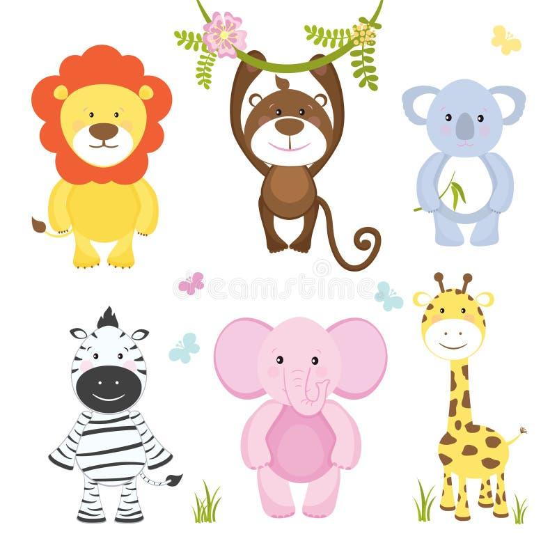 Grupo de animais selvagens dos desenhos animados bonitos do vetor ilustração royalty free